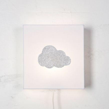 Applique chambre bébé blanche nuage paillettes argent en vente sur ...
