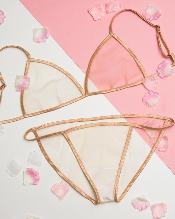 c3c7d6c416895 Nude Lingerie Set - Bralette and Panty - Transparent lingerie ...