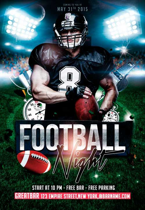 Free Football Night PSD Flyer Templateu2026 Photoshop tips and - football flyer template
