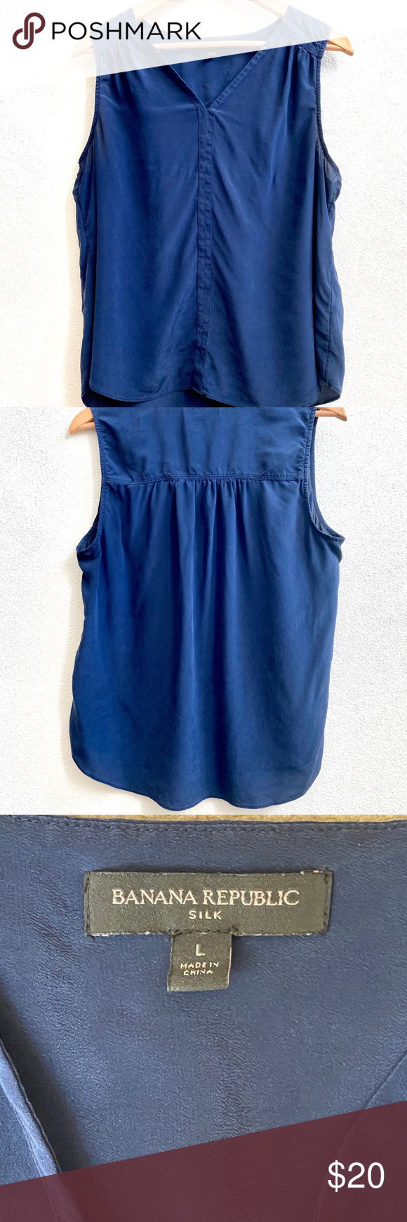 Banana Republic navy blue sleeveless blouse shirt Gently worn Banana Republic sl...