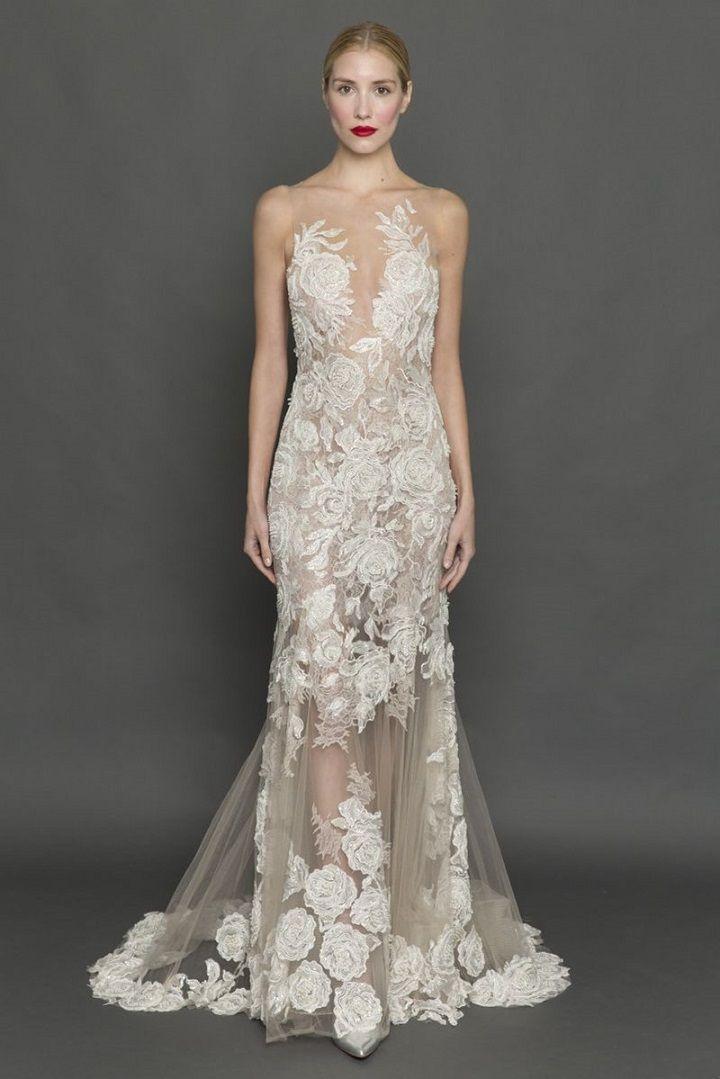 Column illusion wedding dress | itakeyou.co.uk #weddingdress #weddingdresses #column #bride #bridalgown #weddinggown #weddinggowns