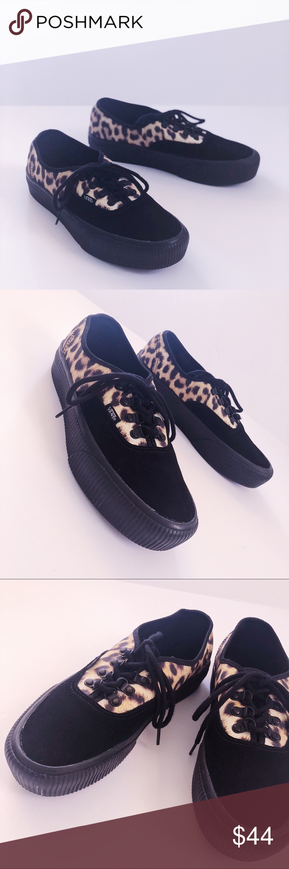 "19c7e76d43a7d2 Vans Authentic Leopard Platform Sneakers 9.5 women Leopard printed and black  suede Vans Authentics with Ribbed 1.75"" Platform. Excellent used condition  ..."