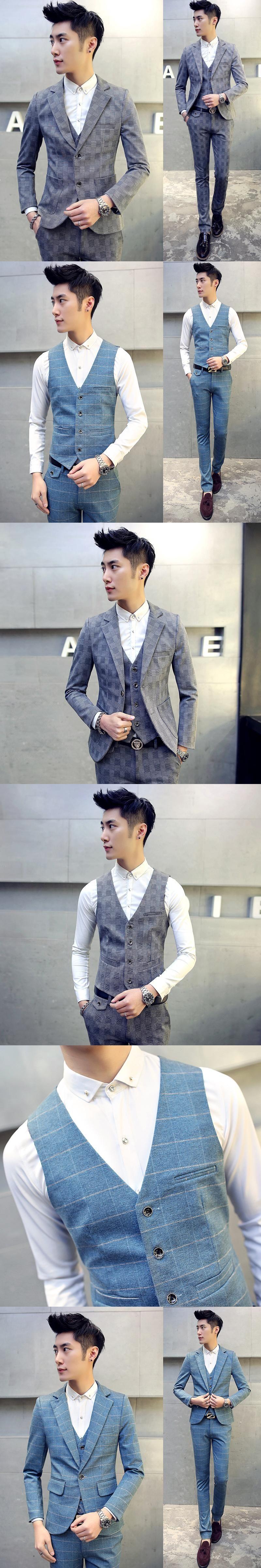 High quality men's large size Slim suits Teen Wedding Dress Formal wear clothes male Business Casual Suits jacket+vest+pants