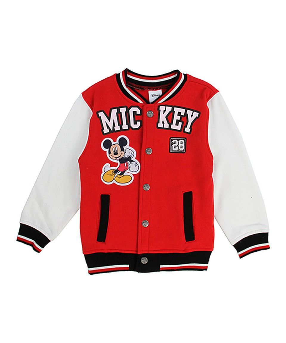 223cb3fc69eb Look what I found on  zulily! Red Mickey Mouse Varsity Jacket - Kids ...