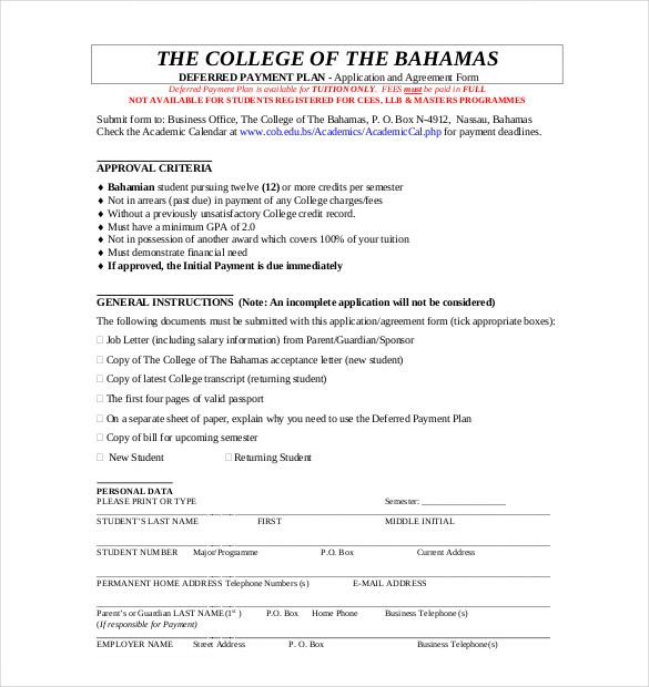 payment plan agreement template free word pdf documents sample ...