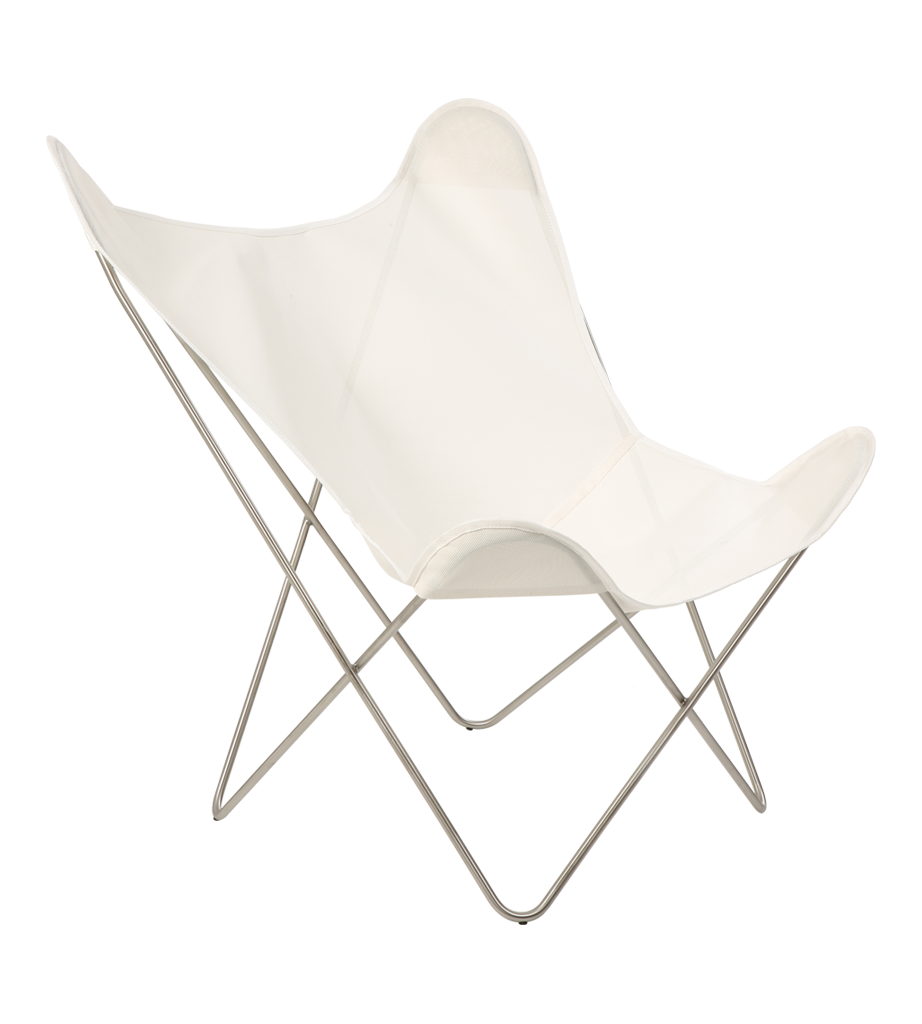 Butterfly Folding Chair Butterfly Chair White Chrome In 2019 Garden Furniture