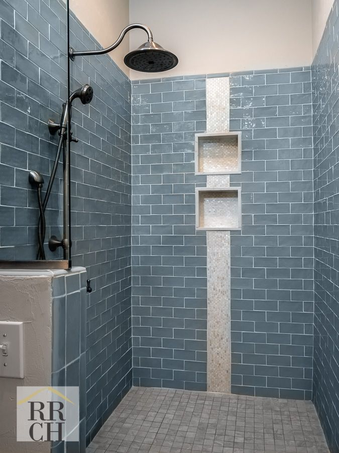 colored subway tile shower with