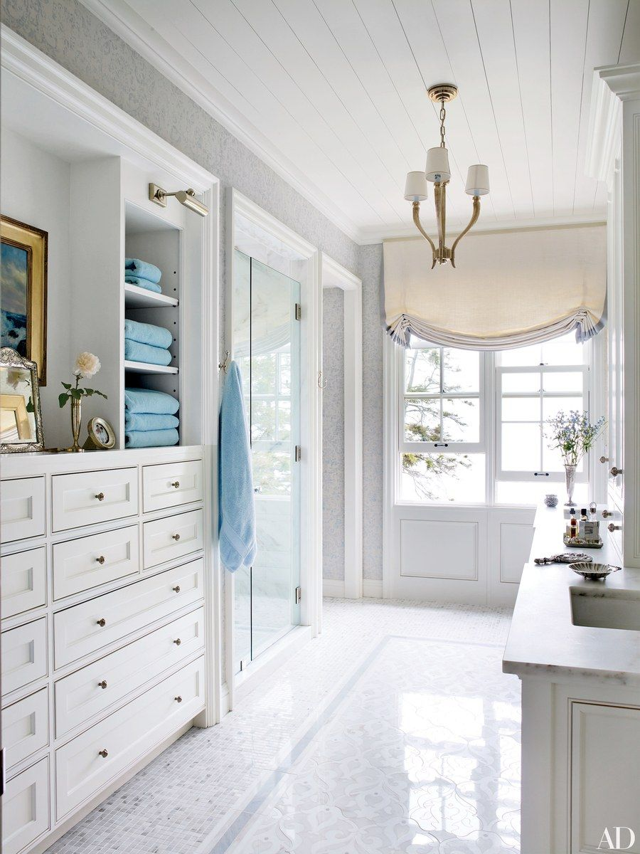 The master bath of a Maine home conceived by designer Suzanne Kasler ...
