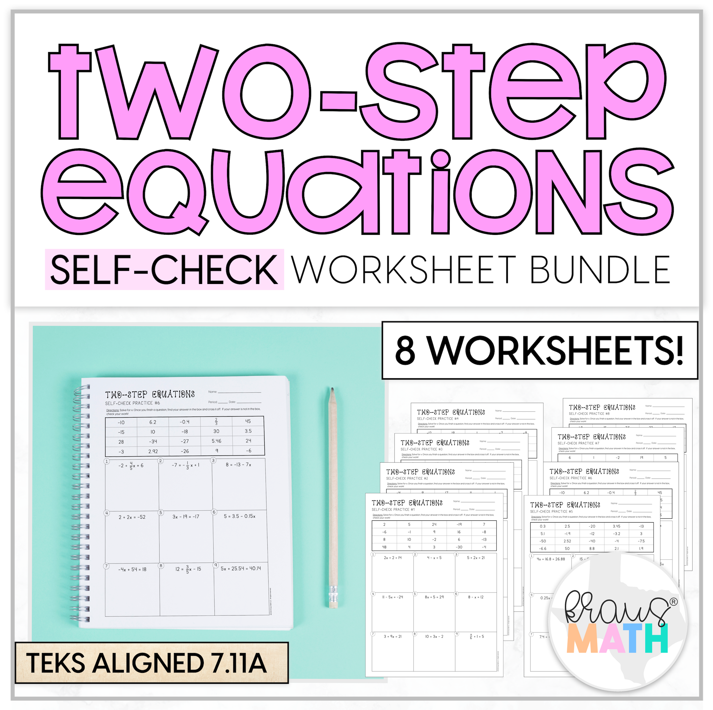 Two Step Equations Self Check Worksheet Bundle 7 11a