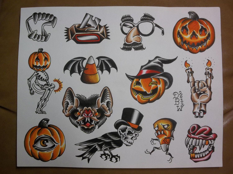 Halloween Traditional Tattoo Flash Sheet 10 00 Via Etsy