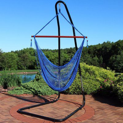 hammock chair stand adjustable grey linen covers outdoor sunnydaze decor hanging cabo extra large with chhc bl
