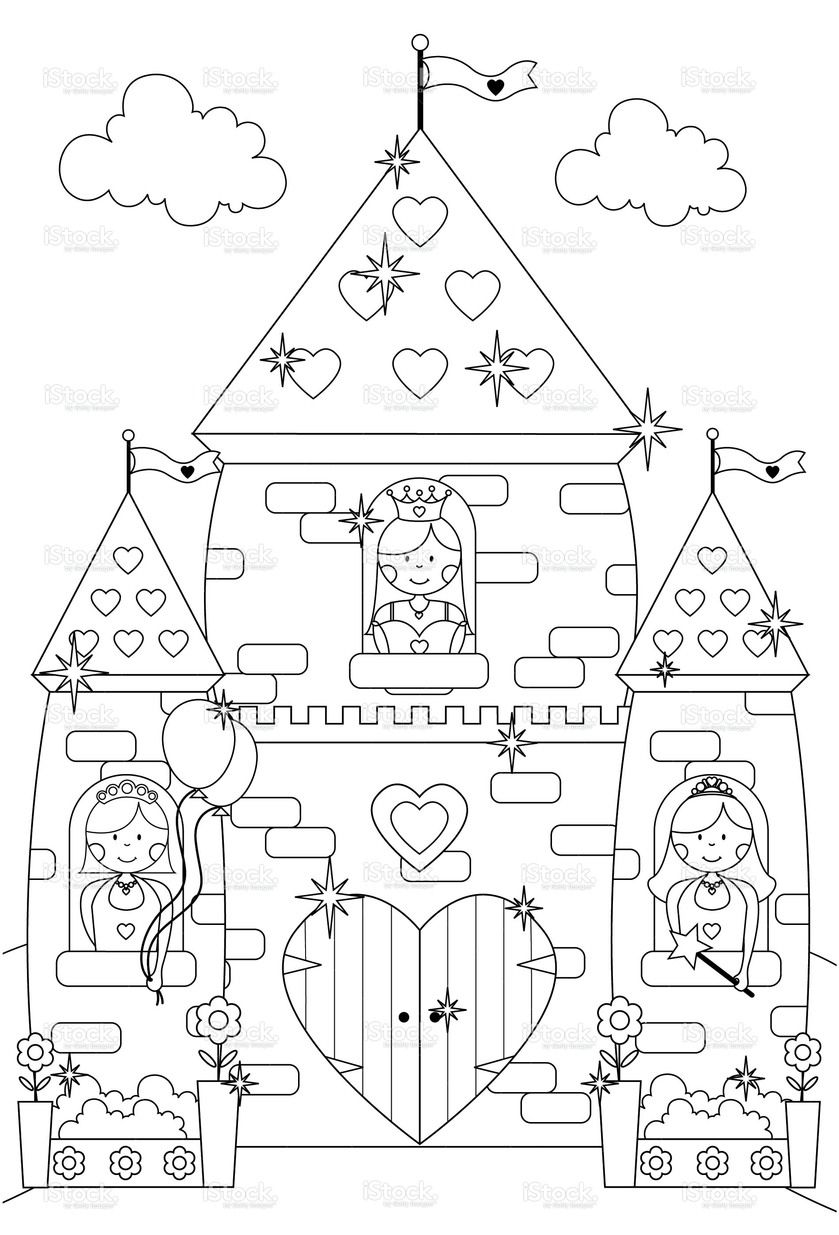 Fairytale Sparkly Castle And Princess Characters To Color In Stock Vector Art 10060642 Istock Prinsessen Ridders Knutselideeen