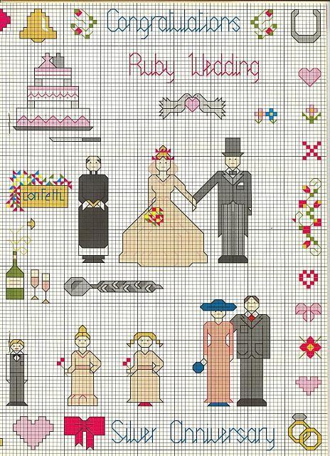 Anniversario Matrimonio Punto Croce.Le Nozze D Argento Schema Punto Croce 2 With Images Kids