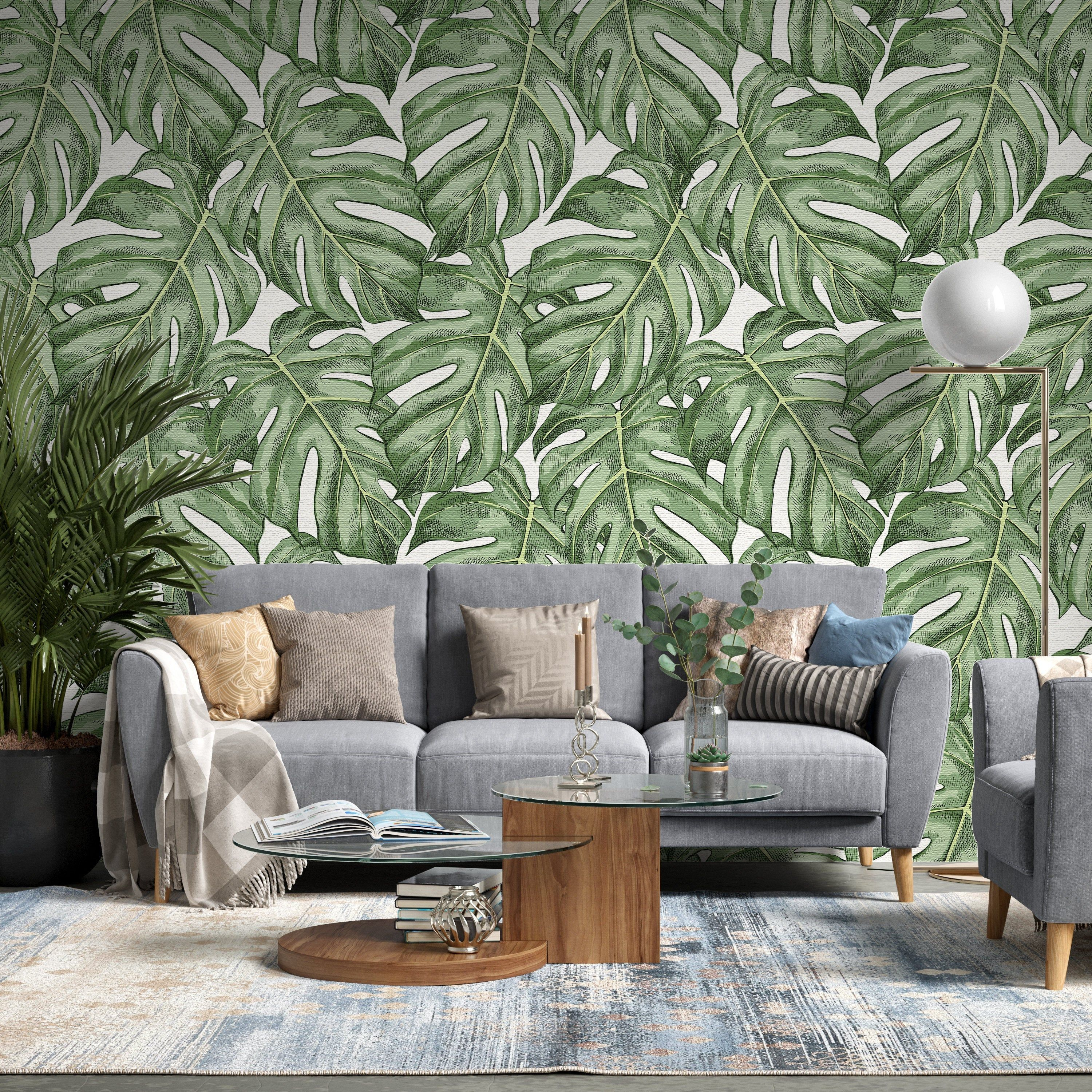 Removable Wallpaper Green Leaf Floral Peel And Stick Etsy Removable Wallpaper Special Wallpaper Traditional Wallpaper