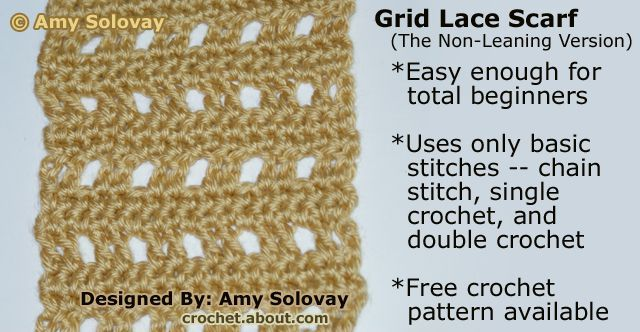 How To Crochet A Grid Lace Scarf Non Leaning Version Free Crochet