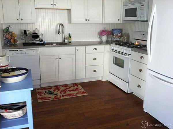 Beadboard Backsplash Grey Counters White Appliances Kitchen