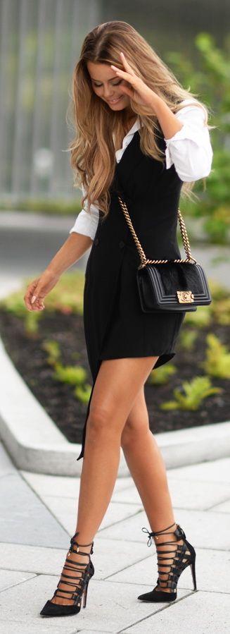 Sleeveless dress |  Gina Tricot Shirt |  Chanel Bag |   Aquazzura Heels