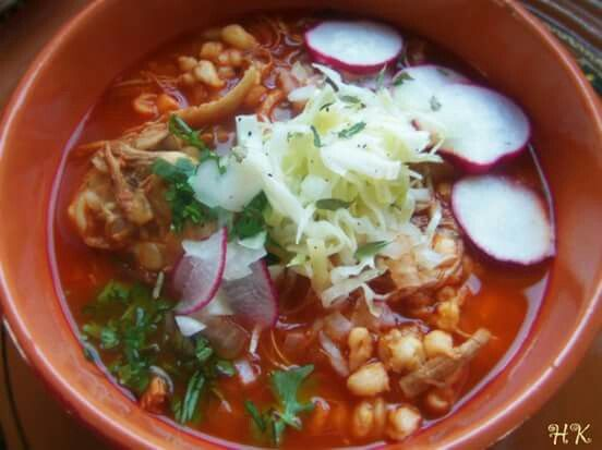 Red Chile Chicken Posole with Roasted Tomatos