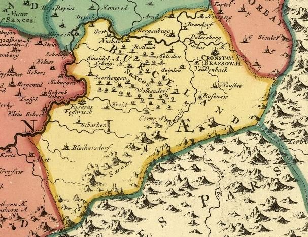 Map Of Burzenland [Transylvania, Romania] From The First Half Of The 18th  Century