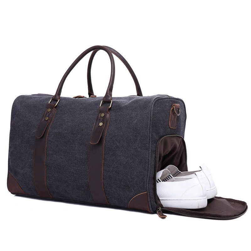 77533589b6e Canvas Duffel Travel Bag Gym Bags with Shoe Compartment F24   SCHUHE ...