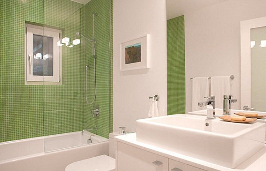 Small and Bright Bathroom Theme Ideas : Gorgeous White Green Tile Wall  Decorate Small Bathroom Design