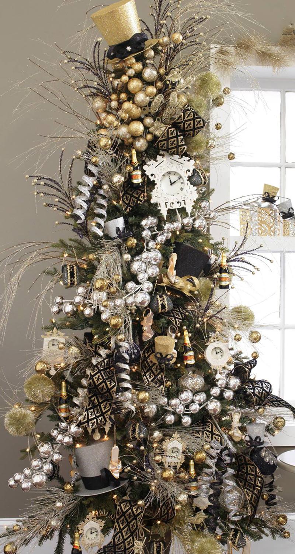 festive black gold silver tree i love love the bigger size gold silver ornaments the gold. Black Bedroom Furniture Sets. Home Design Ideas