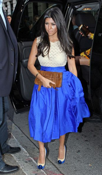 I love Kourtney's style...this blue and Rachel Roy