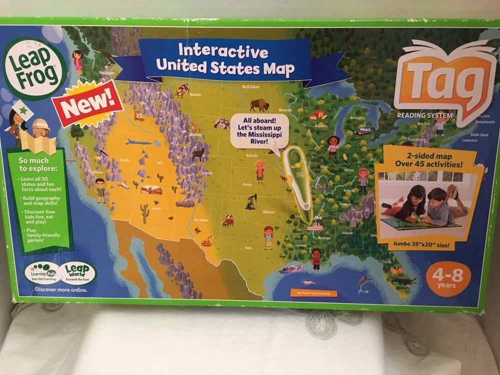 Leapfrog Tag Interactive United States Jumbo Two Sided Map (35x20 ...