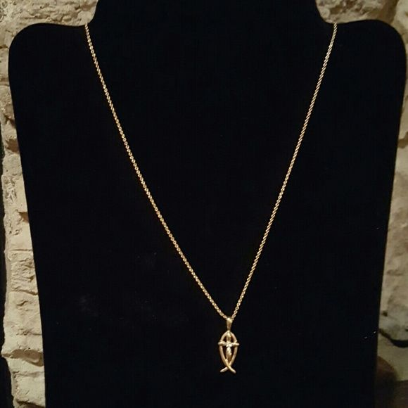 Cross and christian fish necklace my posh picks pinterest gold cross and christian fish necklace gold necklace with crossfish pendant cross has a small crystal jewelry necklaces aloadofball Choice Image
