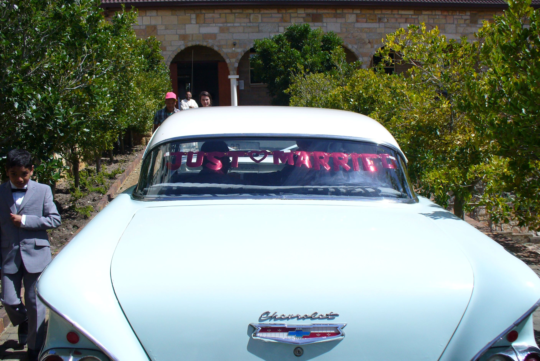 just married car signage vintage car  just married car