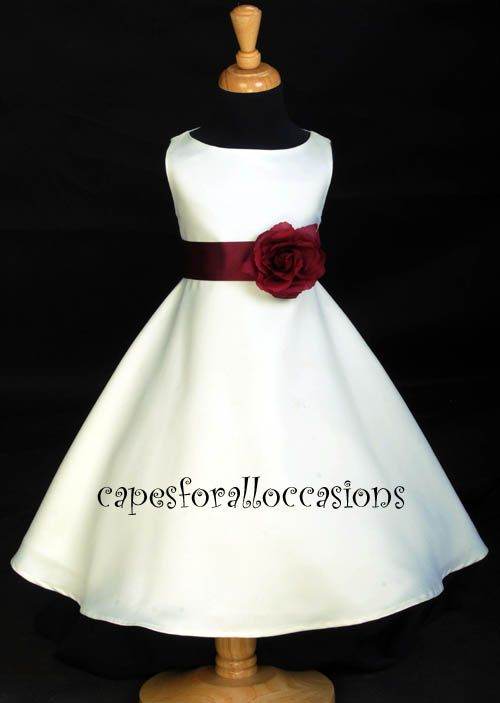 Wedding Recital Ivory Burgundy Wine Red Flower Girl Dress