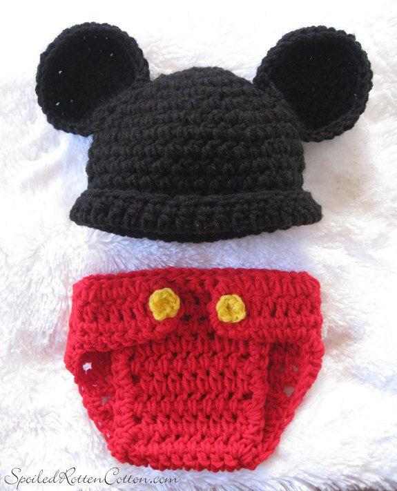Crocheted Mickey Inspired Baby CostumePhoto Prop