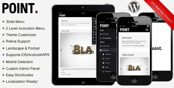 Point Mobile Theme | WordpressThemeDatabase | Pinterest