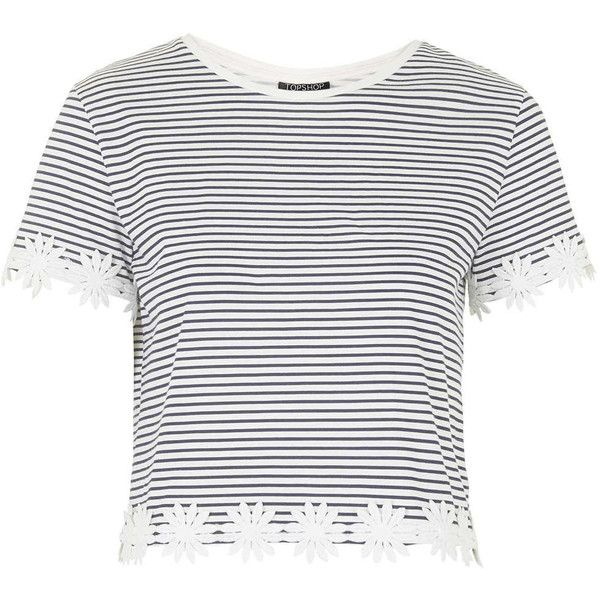a2d2e4a03be TOPSHOP Striped Daisy Trim Tee ($36) ❤ liked on Polyvore featuring tops, t