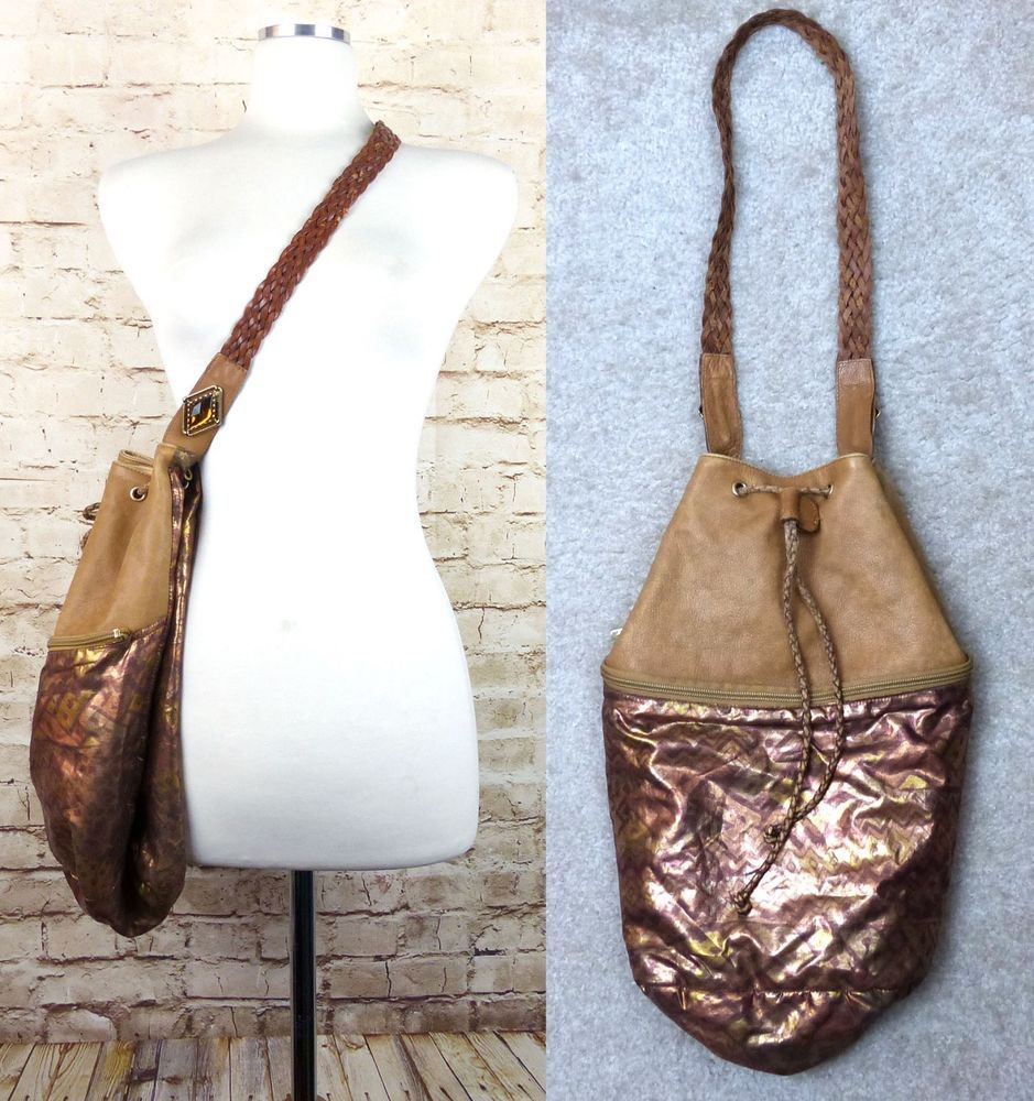 6819f3dd0b33 Paola Del Lungo Tan Leather Metallic Crossbody Purse Hobo Handbag Italy  Boho  PaoladelLungo  Crossbody