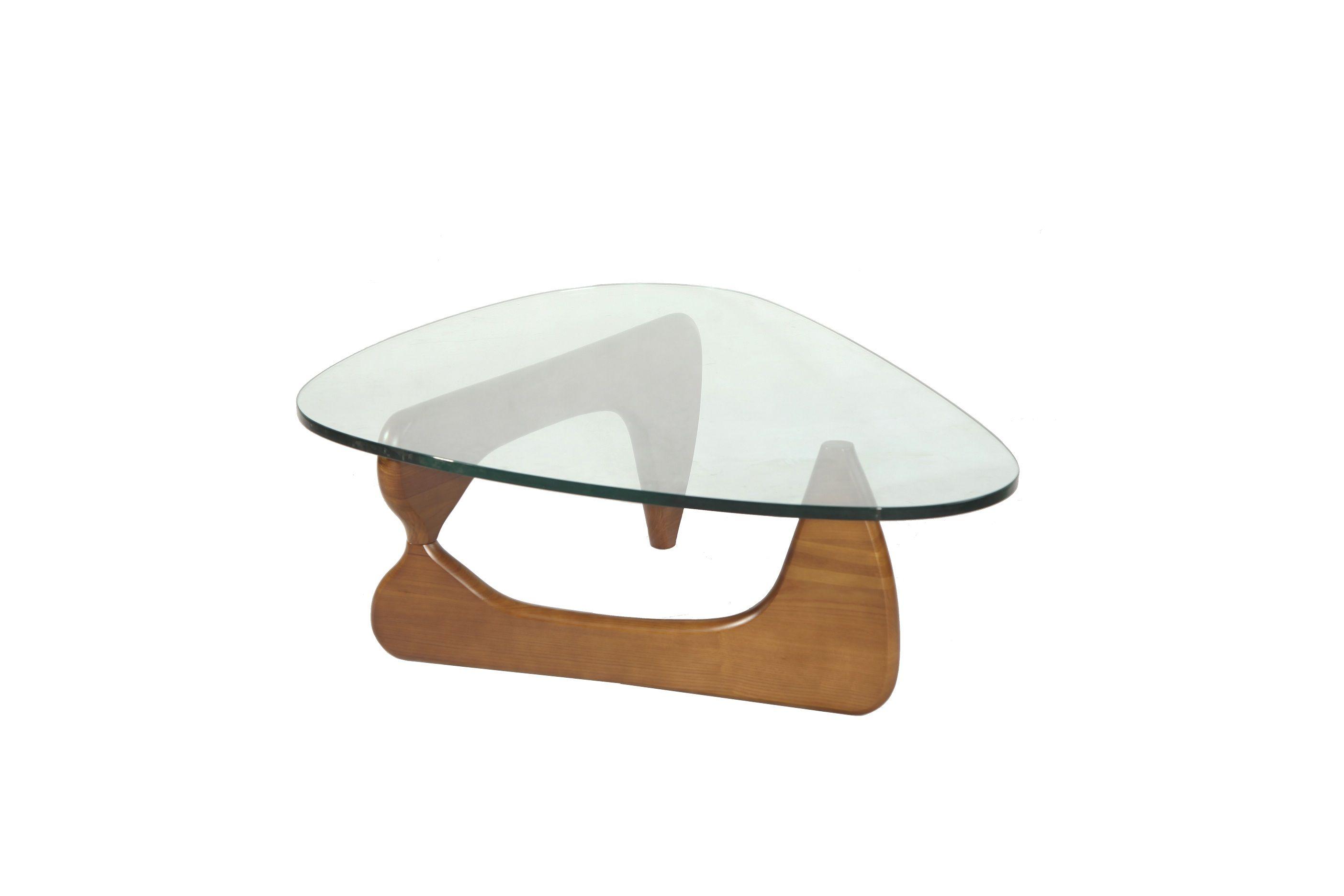 Light walnut Isamu noguchi coffee table with 19mm tempered glass