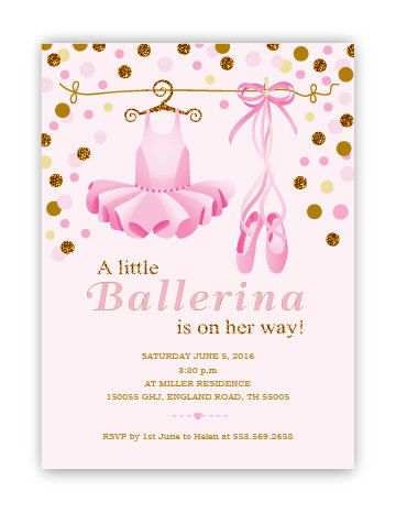 Little Ballerina Baby Shower Invitation Digital Baby Shower