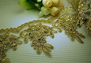 "2 Yards 4/"" Metallic Gold Embroidery Sequin Beaded Venise Lace Trim"