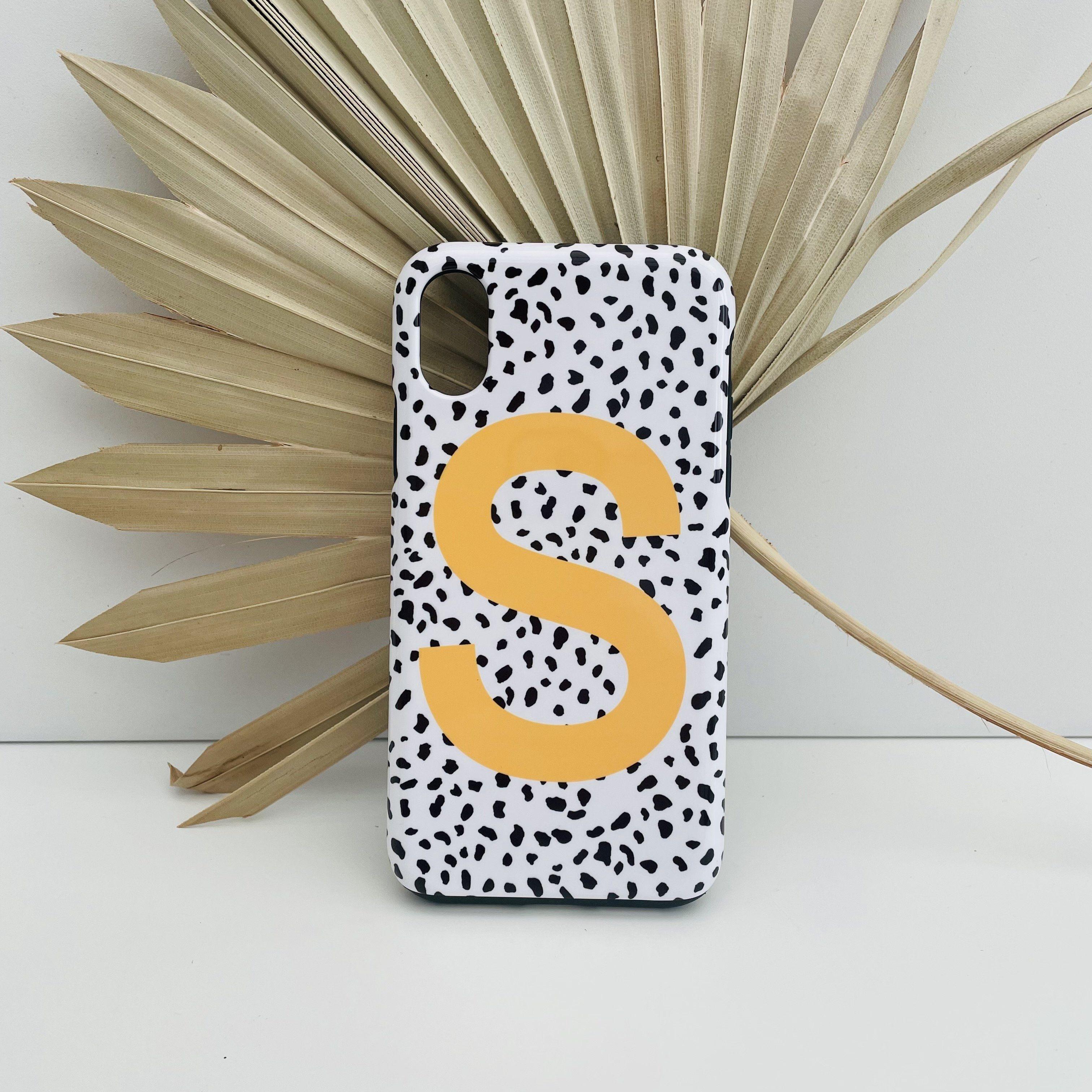 SAMPLE SALE : Mustard Dalmatian Print Letter 'S' iPhone X/XS Deluxe Tough Case