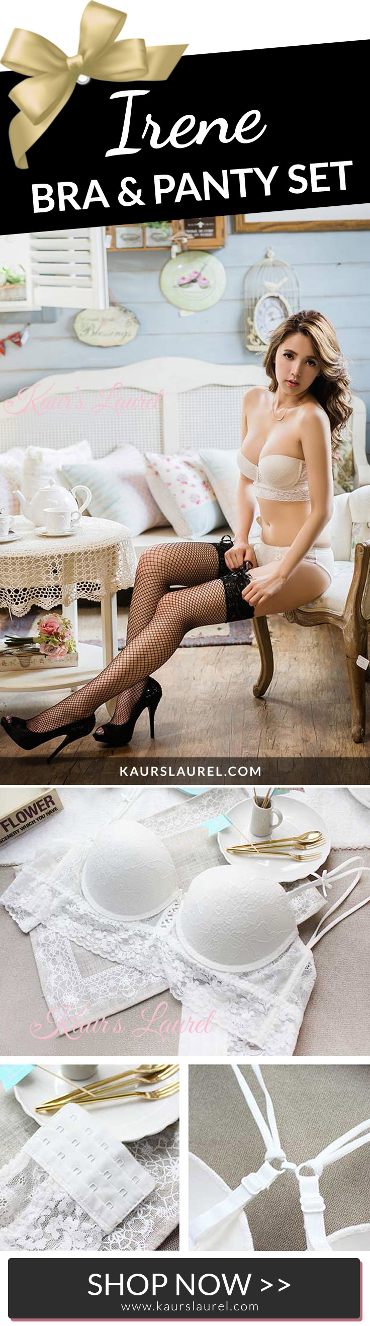 Beautiful Irene lace bra & brief set in white by Kaur's Laurel #kawaii #lingerie | SHOP >> http://www.kaurslaurel.com/products/irene-longline-bra-white