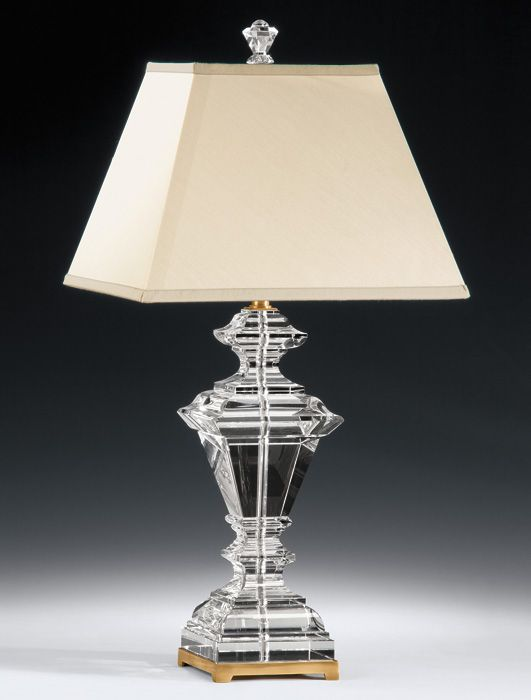Crystal Table Lamps Antique Brass And Octagonal Solid Crystal