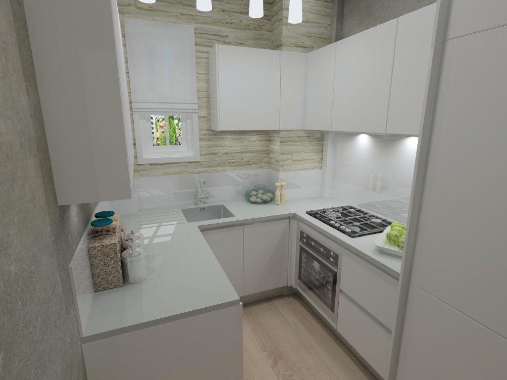 Small U Shaped Kitchen Render