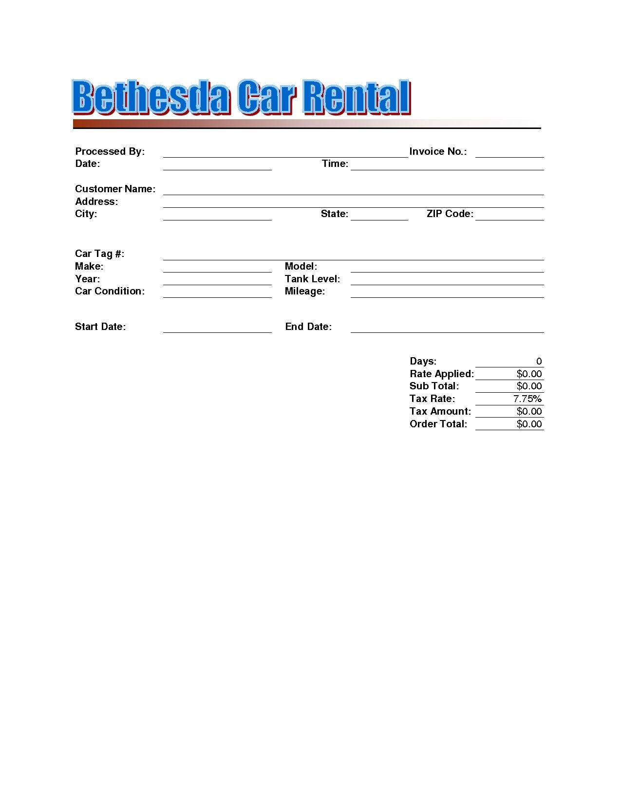 Rent Car Invoice Template Rental