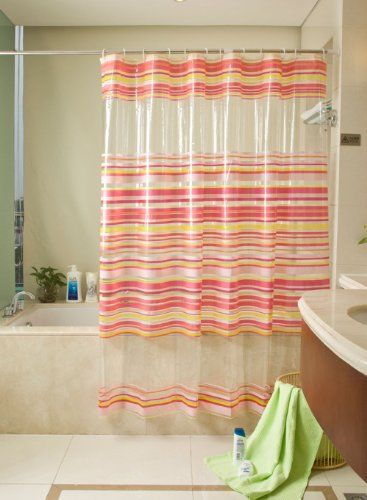 Red Pink Yellow Horizontal Stripes Pvc Transparent Shower Curtain Water Proof 78 Inches Wide By 70 Inches Long Generic Http Thick Curtains Pvc Shower Curtains