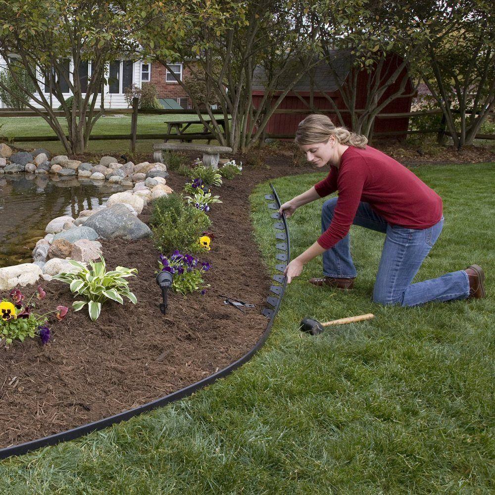 E Z Connect 24 Ft Multipurpose Paver Edging Project Kit In Black 1506bk 24c The Home Depot Landscaping With Rocks Sloped Garden Landscape Edging