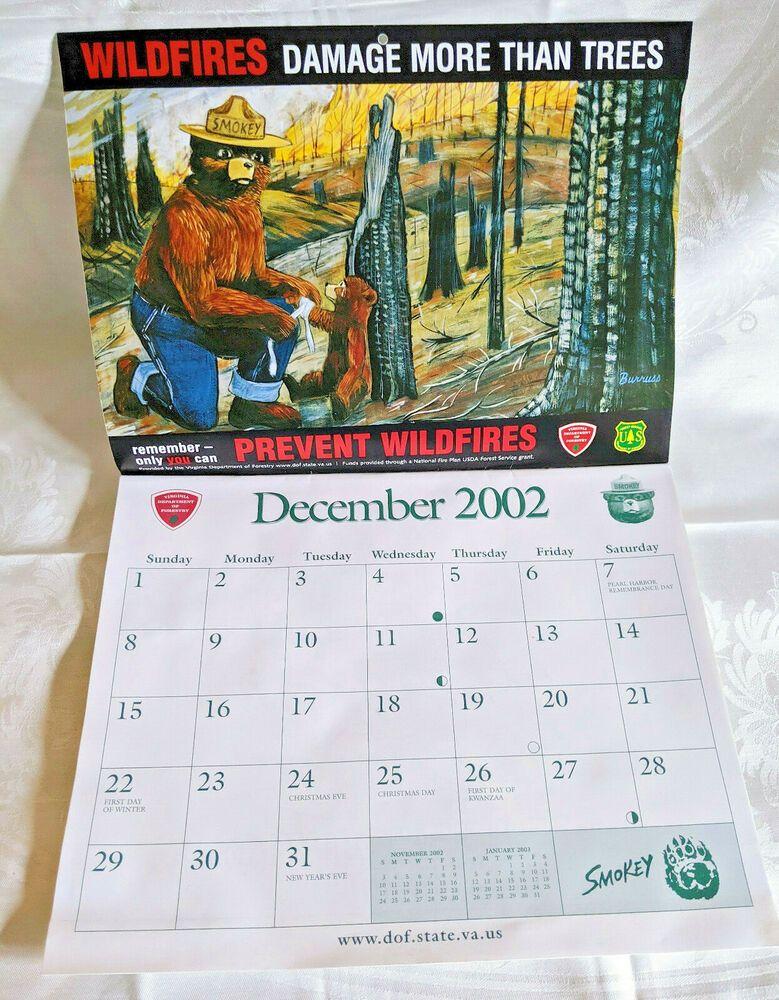 Year 2003 Virginia Dept Of Forestry Calendar Smokey The Bear