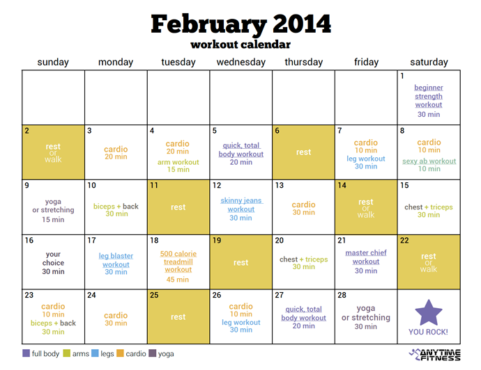 February 2014 Workout Calendar - Stay on track with our pre ...