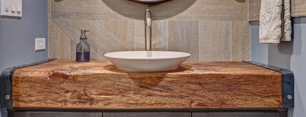 Thick Wooden Bathroom Vanity Top With Vessel Sink Idea For Third Bathroom To Increase Coun Wooden Bathroom Vanity Bathroom Vanity Tops Unique Bathroom Vanity