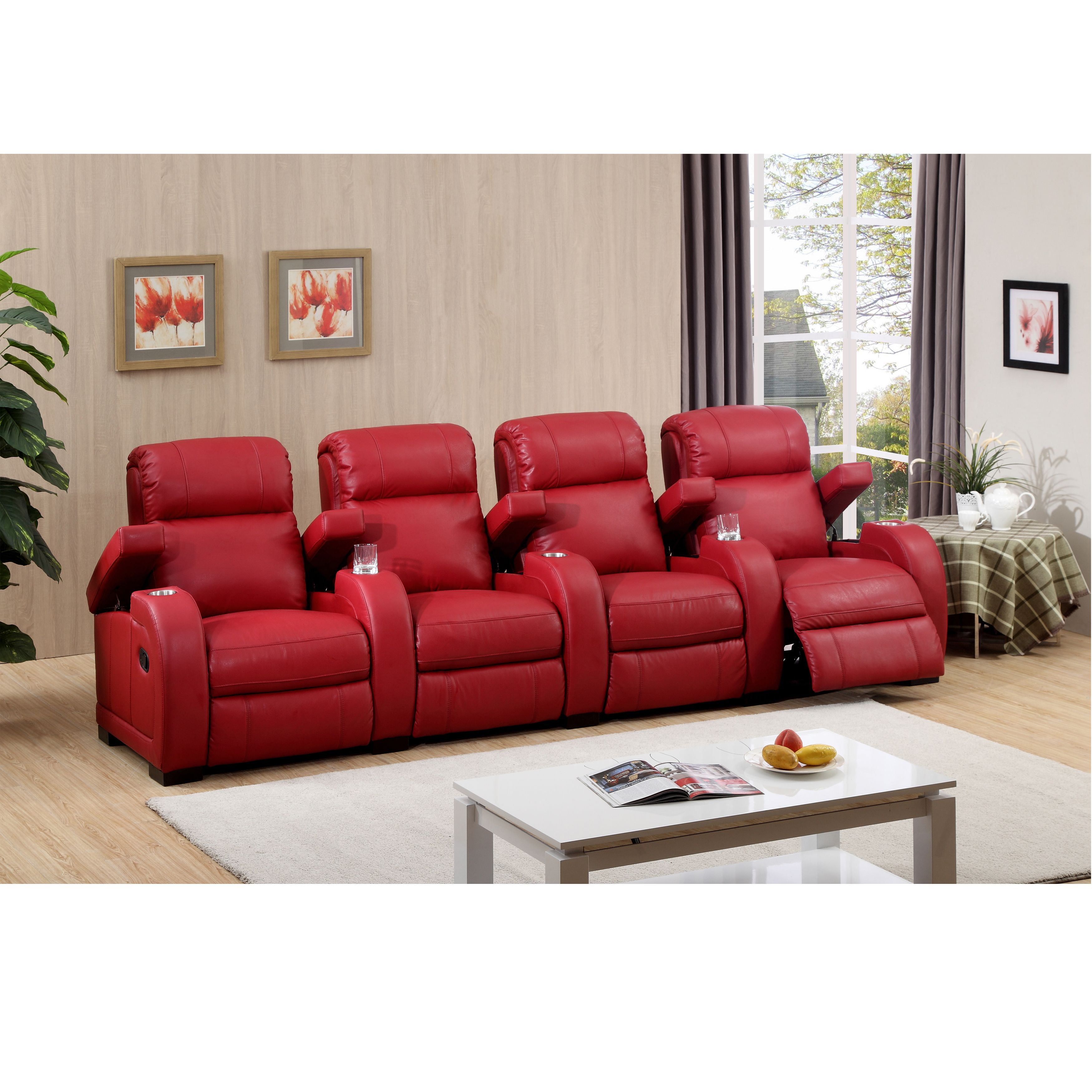 Hugo Four Seat Red Top Grain Leather Recliner Home Theater