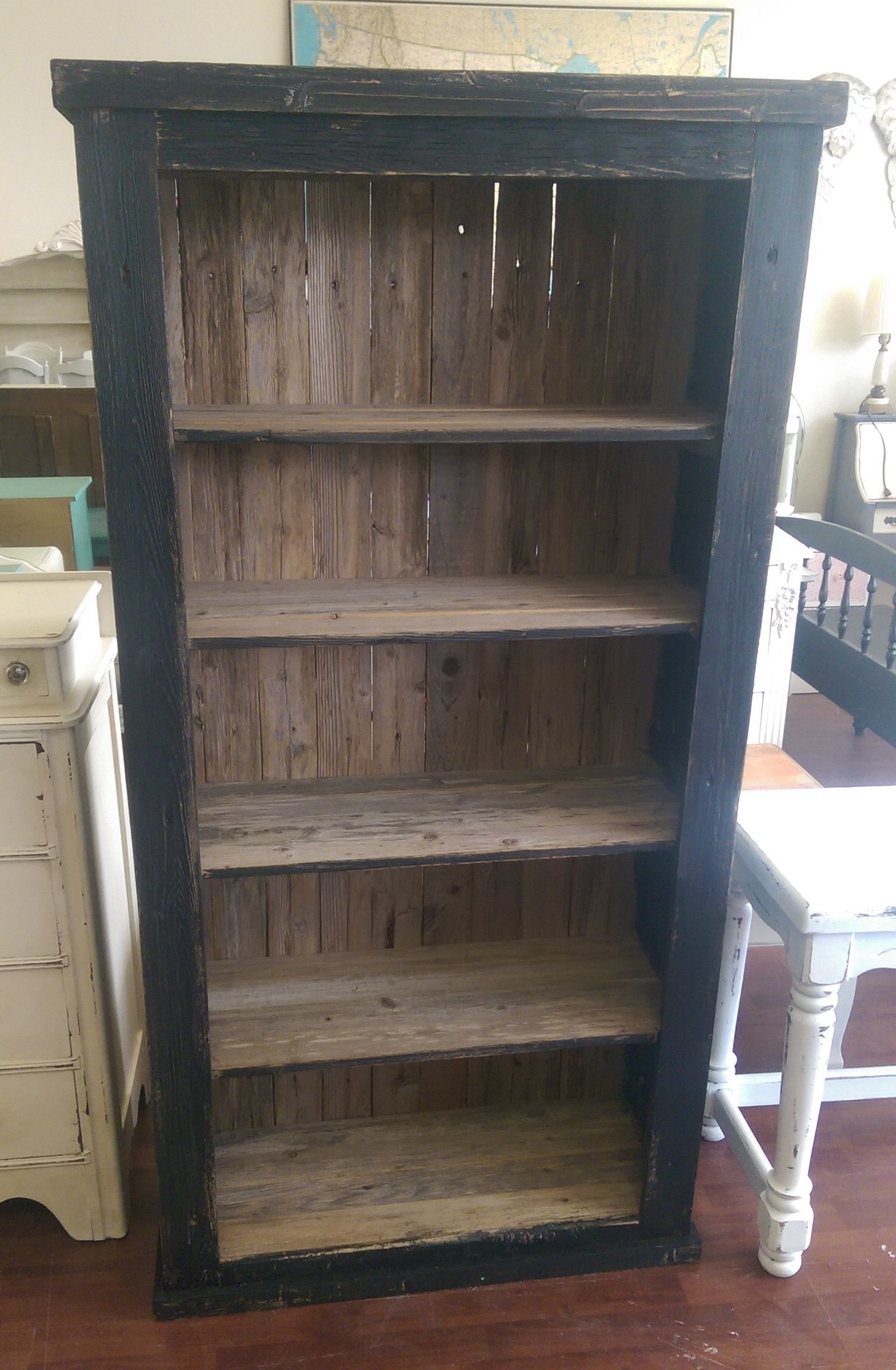 Here Is Tall Reclaimed Wood Bookshelf I Brushed The Outside Of It With Black To Give It Some Color Wh Bookshelves Diy Wood Bookshelves Diy Furniture Projects